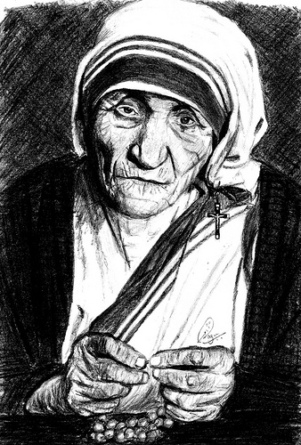 Portrait of Mother Teresa of Calcutta by Sagar Puro via Flickr.