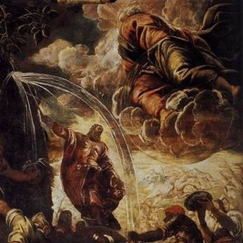 Jacobo Tintoretto's Moses Striking Water From the Rock