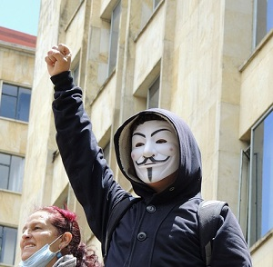 Protester in Guy Fawkes Mask